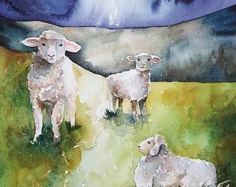 "One Starry Night- original 10"" x 10""watercolor of sheep in field"