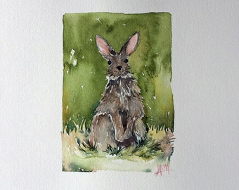 Watercolor Rabbit - Original 11x14 - For Some Bunny You Love