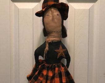 Primitive Halloween Witch Wittibog