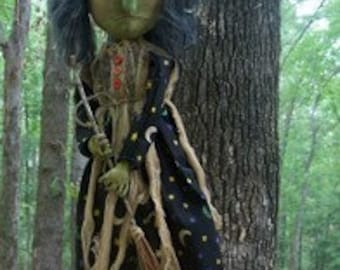 Primitive Espella Witch Doll With Broom