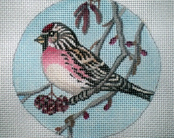 "Handpainted Needlepoint Canvas 4"" Redpoll Pine Siskin on 18ct"