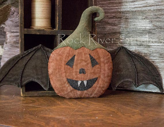 Primitive Halloween PDF Pattern Pumpkin Bat Door