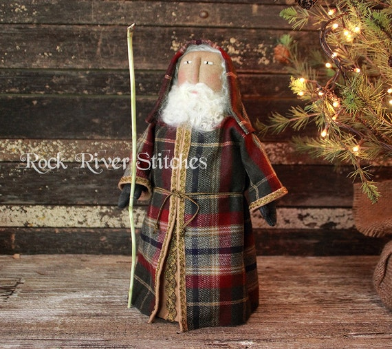 primitive old world santa pattern christmas folk art santa etsy rh etsy com