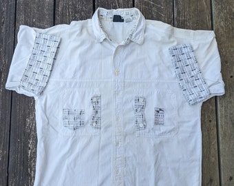 """1980s Vintage Gitano """"Cubic Brights"""" Hand Mended Button Up with Cuffs"""