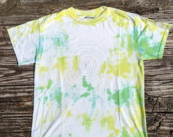 Hand Embroidered Spiraling Vintage 1990s Tie Die T-Shirt, Limited Edition #2 of 10