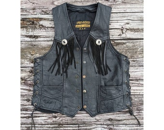 Pro-Rider Genuine Leather Fringed Vest with Harley Davidson Patch