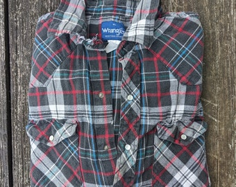 Distressed Vintage Wrangler Flannel Shirt with Pearl Snaps