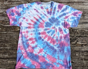 Hand Embroidered Spiraling Vintage 1990s Tie Die T-Shirt, Limited Edition #1 of 10