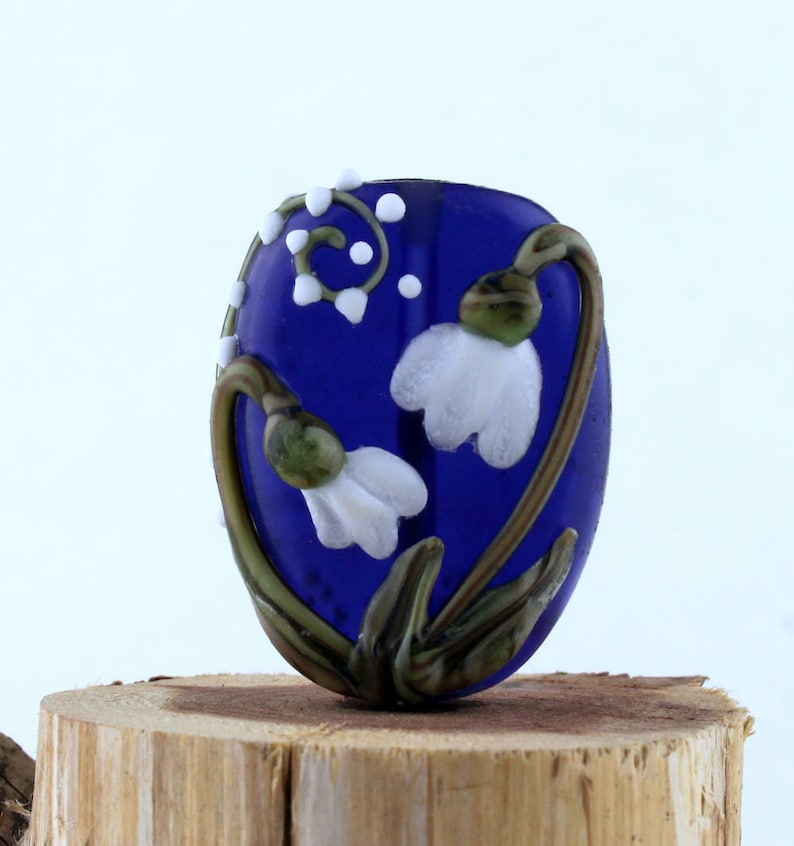 Lampwork Glass Blue Focal White Snowdrops