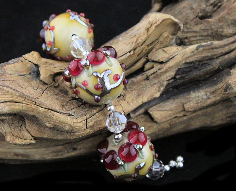 Lampwork Glass Silvered Glass Trio Pink Gold