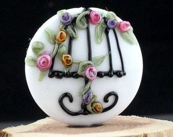 Lampwork Glass Focal Decorated Lamp White Pink Purple Yellow