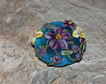 Tropical Paradise Lampwork Glass Focal, Blue, Purple, Yellow