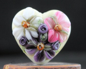 Lampwork Glass Heart Floral Focal Pink Purple White