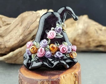 Lampwork Glass Witch Hat Floral Focal