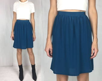 70s Teal Silk Skirt