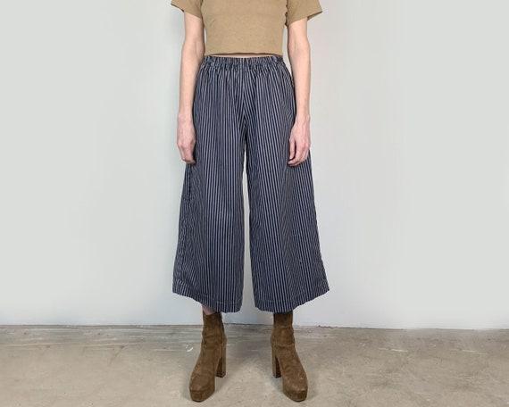Wide Leg Stripe Cotton Pant