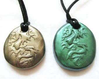 Dragon Necklace, Dragon Egg Pendant - Geek Fantasy Jewelry for Men or Women in Gold or Green
