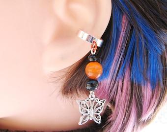 Monarch Butterfly Earring, Cartilage Ear Cuff, Halloween Jewelry In Black And Orange