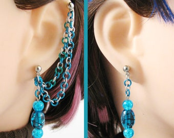 Mermaid Jewelry, Double Piercing Earrings or Chain Ear Cuff Pair - Blue, Green, and Silver Cartilage to Lobe