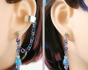 Colorful Chain Cartilage to Lobe Earrings for Double Piercings or with Ear Cuff - Purple, Blue, Silver