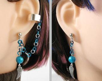 Angel Wing Earrings Pair, Double Piercing or Clip On Ear Cuff
