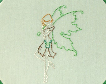 Irish Fairy Art, Embroidered Wall Hanging, Fantasy Hoop Art in Green