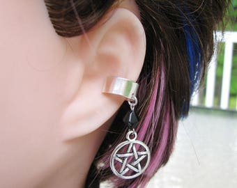 Pentagram Earring, Star Ear Cuff - Pagan Wicca Gothic Jewelry in Black and Silver