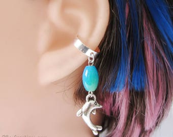 Dolphin Ear Cuff Summer Earring In Blue, Green, And Silver