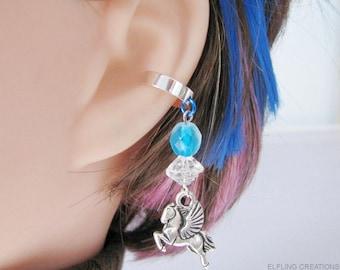 Pegasus Earring, Fantasy Ear Cuff - Winged Horse Jewelry