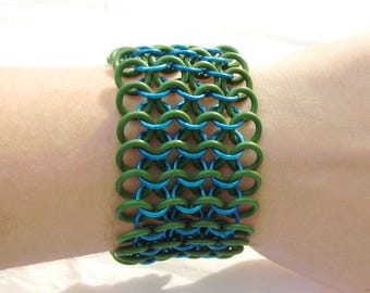 Stretch Bracelet Chainmaille Jewelry for Men or Women - Blue and Green Cuff Bracelet