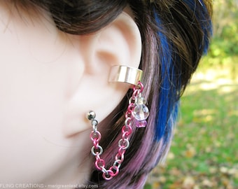 Cartilage Chain Ear Cuff Connected Earring, Pierced or Nonpierced - Pink And Silver