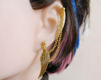 Gold Angel Wing Earring, Cartilage Chain Bajoran Ear Cuff