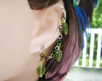 Fantasy Leaf Helix Chain Earring, Elf Ear Cuff - Green And Brown Elven Jewelry