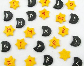 Sun And Moon Runes, Elder Futhark Rune Stone Set - Pagan and Wicca Fortune Telling