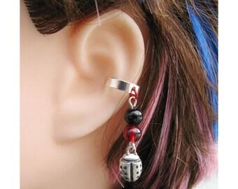 Ladybug Earring, Lady Bug Upper Ear Cuff - Red, Black, And Silver