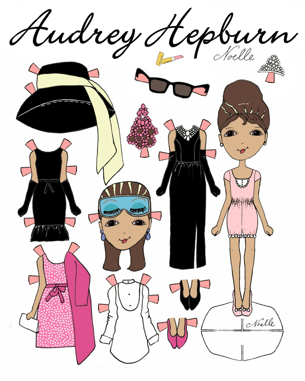 Audrey Hepburn fronte della bambola carta stampabile  8b1dc1fd0aa3