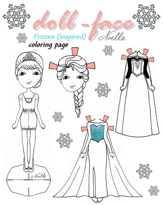 Disney S Frozen Inspired Doll Face Coloring Page Etsy