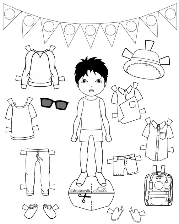 Color Me Printable Black And White Paper Dolls Hand Drawn Etsy
