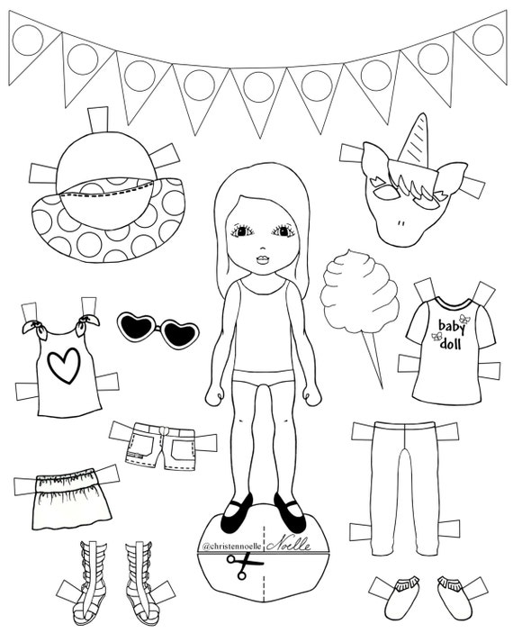 photograph relating to Paper Dolls to Printable titled Shade Me, printable black and white paper dolls, hand drawn, clothes, add-ons, youngsters design and style. Social gathering favors.