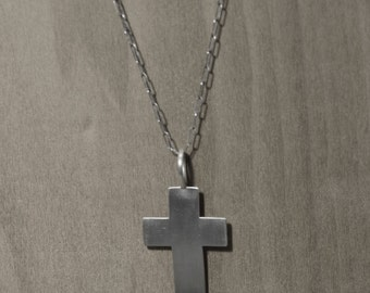Bold Argentium silver cross on long chain