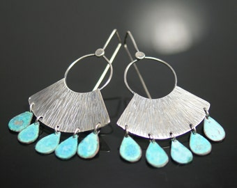 Argentium silver and copper oxdizided tribal earrings