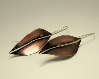 Copper and sterling silver leaf earrings