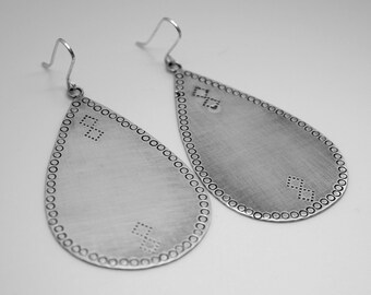 Argentium silver large pear drop earrings hand texturized and oxidized