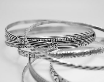 8 patterned bangle bracelets made from Sterling Silver