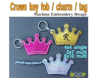 ITH CROWN Key Fob Tag Charm Machine Embroidery Applique Design 4x4 5x7 6x10 multi