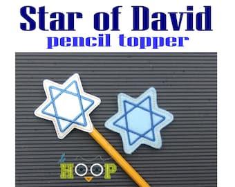 Star of David Pencil Topper Machine Applique Embroidery design 4x4 5x7 ITH In The Hoop Hanukkah Chanukah