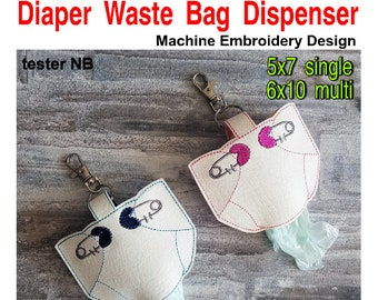 ITH Diaper Waste Bag Dispenser Holder Machine Embroidery Applique Design 5x7 6x10