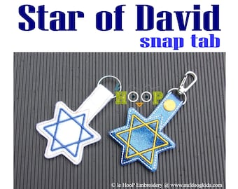 Star of David Snap Tab Applique Embroidery design 4x4 5x7 ITH In The Hoop Hanukkah Chanukah key fob