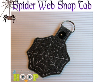 Spider Web Snap Tab Machine Applique Embroidery design 4x4 5x7 ITH In The Hoop Key Fob halloween