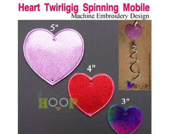 ITH HEART Add-On Whirligig Twirligig Spinning Mobile Machine Embroidery Applique In-The-Hoop Design